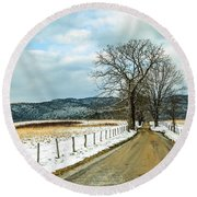 Hyatt Lane In Snow Round Beach Towel by Debbie Green