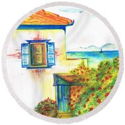 Round Beach Towel featuring the painting Greek Island Hydra- Home by Teresa White