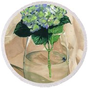 Hydrangea Blossom Round Beach Towel by Barbara Jewell