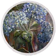 Round Beach Towel featuring the painting Hydrangea Bouquet At Dawn by Eloise Schneider