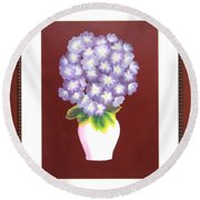 Round Beach Towel featuring the painting Hydrangea by Ron Davidson