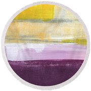 Hydrangea Two - Abstract Painting Round Beach Towel