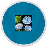 Hydrangeas  Round Beach Towel by Reina Resto