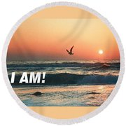 The Great I Am  Round Beach Towel by Belinda Lee
