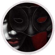 Round Beach Towel featuring the painting I Am Only What I Allow You To See by Pat Erickson