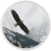 I Am The Eagle Round Beach Towel