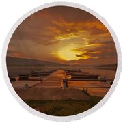 Round Beach Towel featuring the photograph I Can Only Imagine by Rose-Maries Pictures