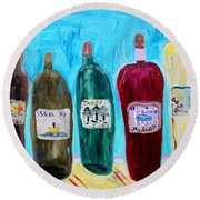 I Choose Wine By The Label Round Beach Towel