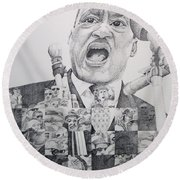 Round Beach Towel featuring the drawing I Have A Dream Martin Luther King by Joshua Morton