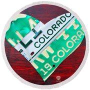 I Heart Colorado License Plate Art Round Beach Towel