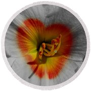 I Heart Flowers Round Beach Towel by Janice Westerberg