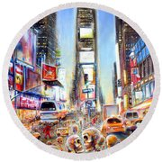 I Heart Ny Round Beach Towel by Heather Calderon