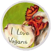 I Love Vegans Round Beach Towel
