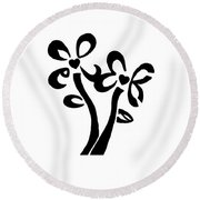 Round Beach Towel featuring the drawing I Love You Flowers by Tamir Barkan