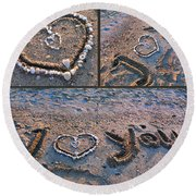 I Love You - Hearts For Valentine's Day Round Beach Towel