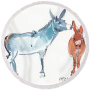 I Love You Donkey Art Watercolor Painting By Kmcelwaine Round Beach Towel