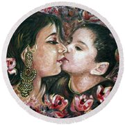 Round Beach Towel featuring the painting I Love You Mom by Harsh Malik
