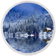 I Loved You In Winter Round Beach Towel