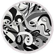 I Seek U - Abstract Eye Paintings, Black And White Eye Art - Ai P. Nilson Round Beach Towel