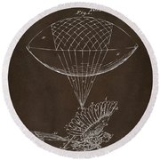 Round Beach Towel featuring the drawing Icarus Airborn Patent Artwork Espresso by Nikki Marie Smith