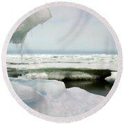 Round Beach Towel featuring the photograph Ice Barrow Alaska July 1969 By Mr. Pat Hathaway by California Views Mr Pat Hathaway Archives