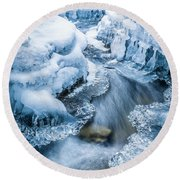 Ice Cathedral Round Beach Towel