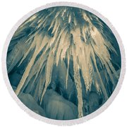 Ice Cave Round Beach Towel