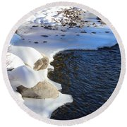 Round Beach Towel featuring the photograph Ice Cold Water by Fiona Kennard