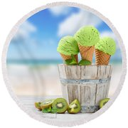 Ice Cream At The Beach Round Beach Towel