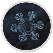 Round Beach Towel featuring the photograph Snowflake Photo - Ice Crown by Alexey Kljatov