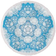 Round Beach Towel featuring the digital art Ice Crystals by GJ Blackman