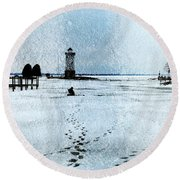 Ice Fishing Solitude 1 Round Beach Towel