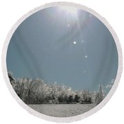 Round Beach Towel featuring the photograph Ice Kissed by Ellen Levinson