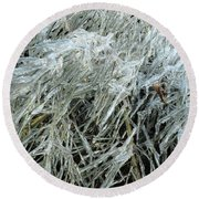 Ice On Bamboo Leaves Round Beach Towel