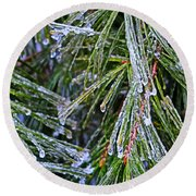 Ice On Pine Needles  Round Beach Towel