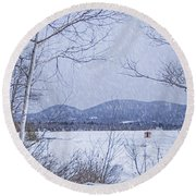 Round Beach Towel featuring the photograph Ice Shack by Alana Ranney