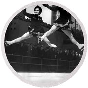 Ice Skaters Perform In Ny Round Beach Towel