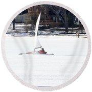 Ice Yacht Race Round Beach Towel