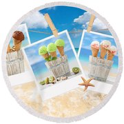 Icecream Polaroids Round Beach Towel