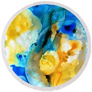 Iced Lemon Drop - Abstract Art By Sharon Cummings Round Beach Towel by Sharon Cummings