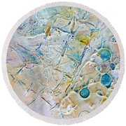 Iced Texture I Round Beach Towel by Phyllis Howard