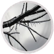 Round Beach Towel featuring the photograph Iced Tree by Ann Horn