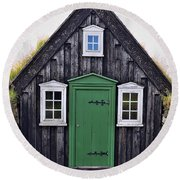 Icelandic Old House Round Beach Towel