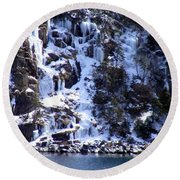 Round Beach Towel featuring the photograph Icicle House by Barbara Griffin
