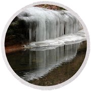 Icicle Reflection  Round Beach Towel