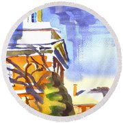 Icicles In The Sky Round Beach Towel