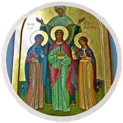 Icon Inside Chesme Church Built By Catherine The Great In Saint  Petersburg-russia Round Beach Towel