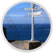 Round Beach Towel featuring the photograph Iconic Lands End England by Terri Waters