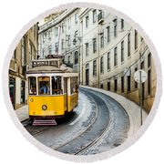 Iconic Lisbon Streetcar No. 28 IIi Round Beach Towel by Marco Oliveira