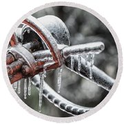Round Beach Towel featuring the photograph Icy Allis- Chalmers Tractor by Debbie Green